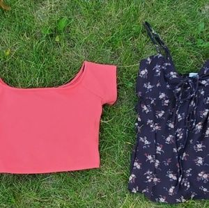 F21 hot pink Crop & AE cut out tank top